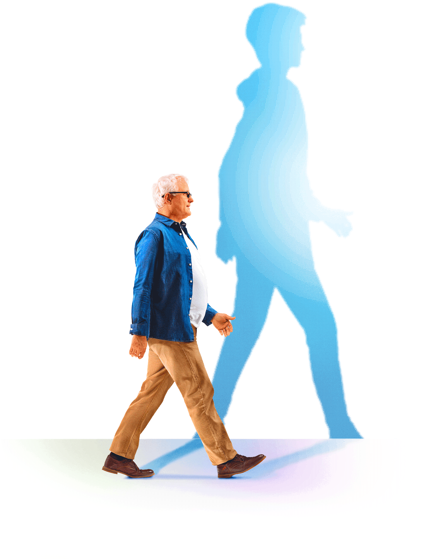 Homme de 60 ans projettant une ombre plus jeune