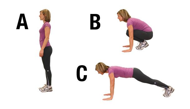 Buttocks exercises - half burpee