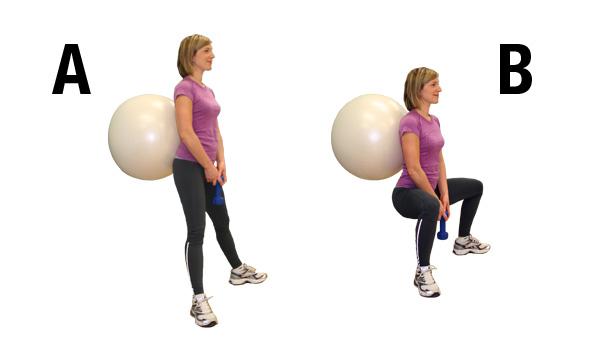 exercices pour fessiers - Plié avec ballon