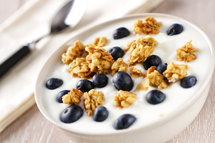 Cereal with Yogurt and Blueberries