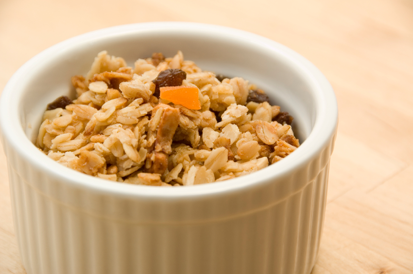 Bowl of granola with dried fruit.