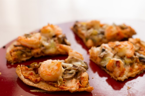 Shrimp, Pesto, and Sun-Dried Tomato Pizza