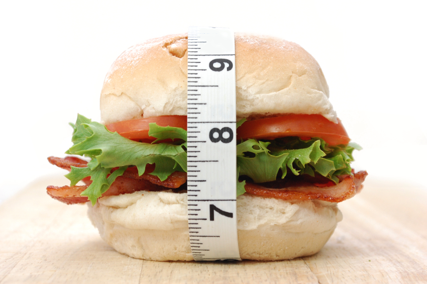Sandwich and measuring tape
