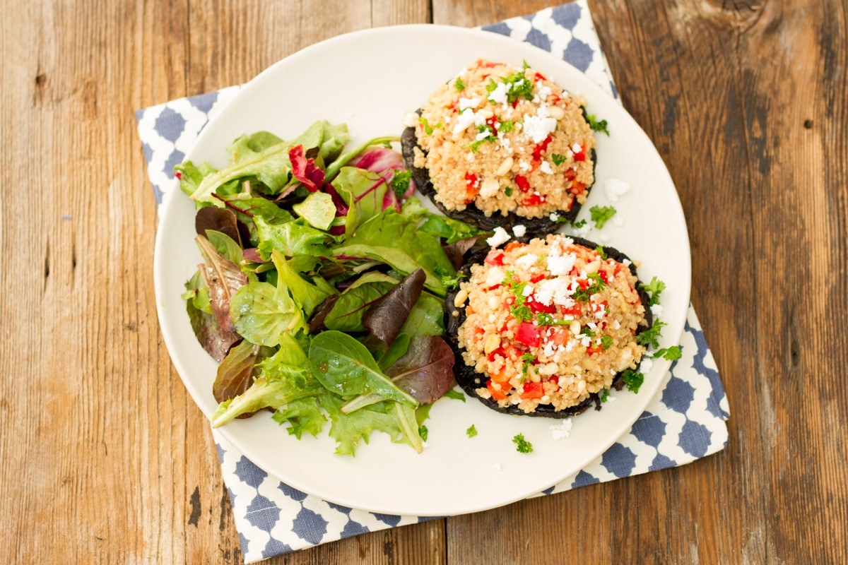 Quinoa Stuffed Portobello Mushroom Recipe With Pine Nuts ...