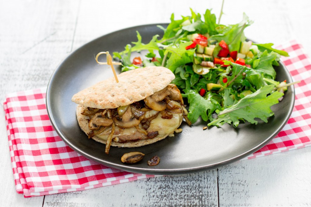 Beef, Caramelized Onion, Cheddar, and Mushroom Burger