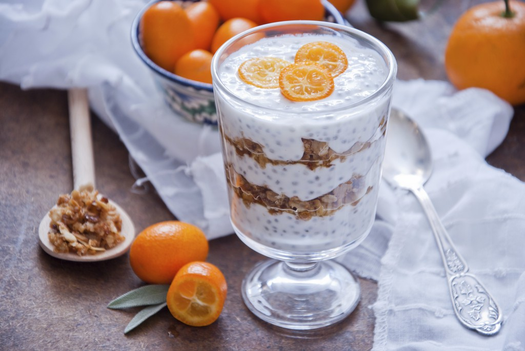 Healthy breakfast - Chia Seed Pudding with kumquats and granola
