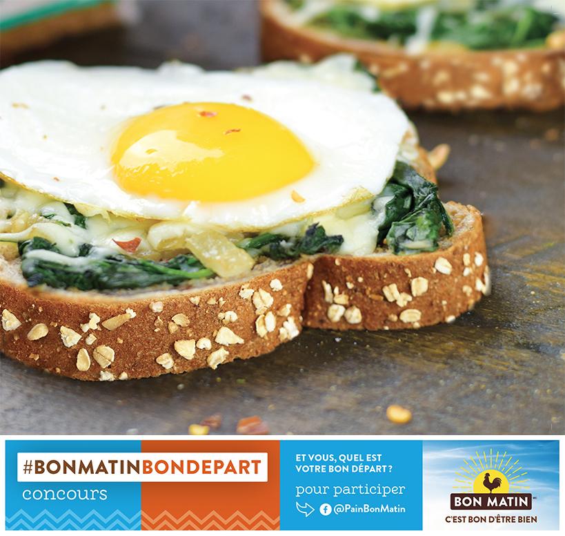 Déjeuner santé - Rotie épinards, fromage et oeuf