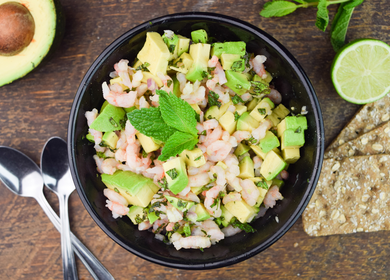 Nordic shrimp salad, avocado and mint