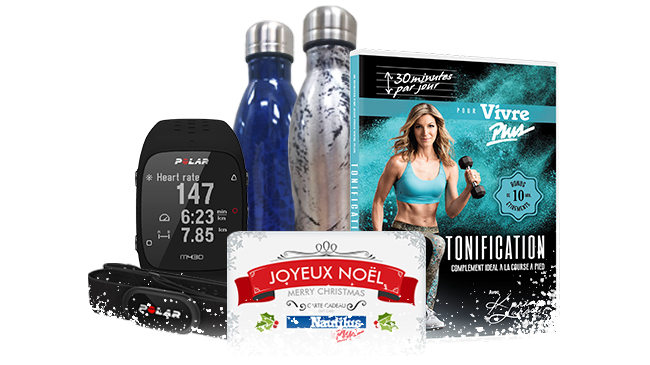 Photo des différentes idées cadeaux, bouteilles, dvd d'entrainement