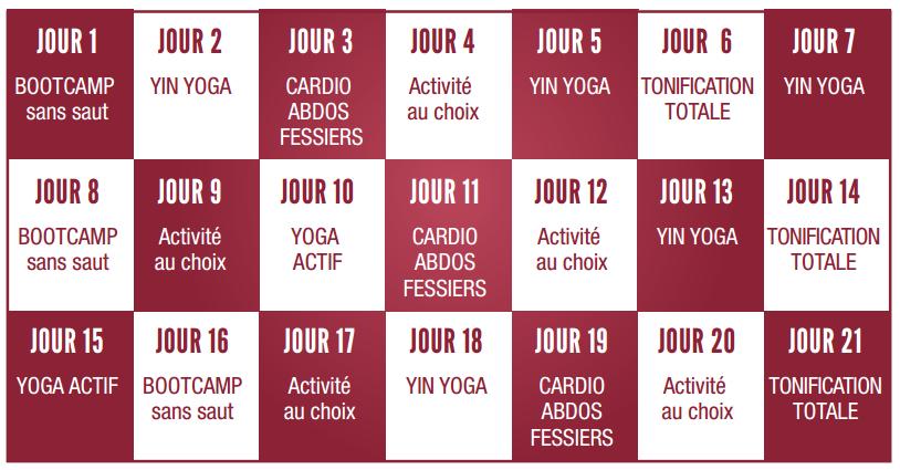 calendrier des séances fit & zen